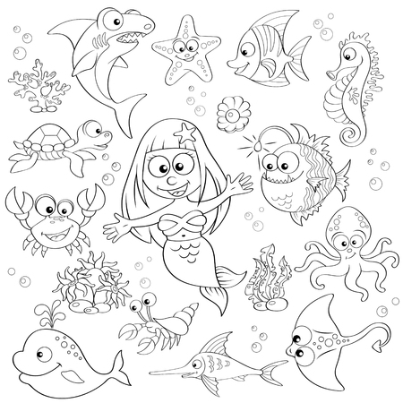 Big set of cute cartoon sea animals and mermaid.