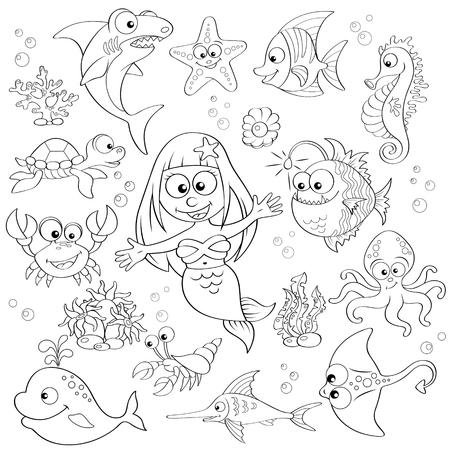Grote set van leuke cartoon zeedieren en zeemeermin.