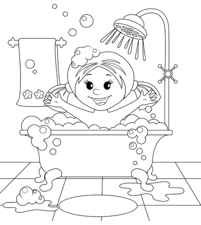 towel: Girl in the bathroom. Black and white illustration for coloring book