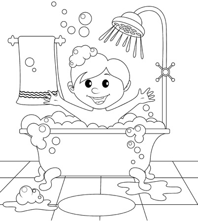 white bathroom: Boy in the bathroom. Black and white illustration for coloring book