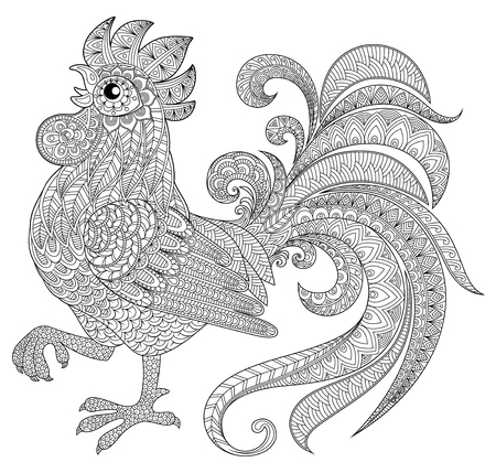 cock: Rooster in doodle style