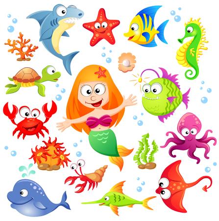 Gran conjunto de animales marinos lindo de dibujos animados y sirena Ilustración de vector