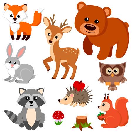 숲 동물. 일러스트