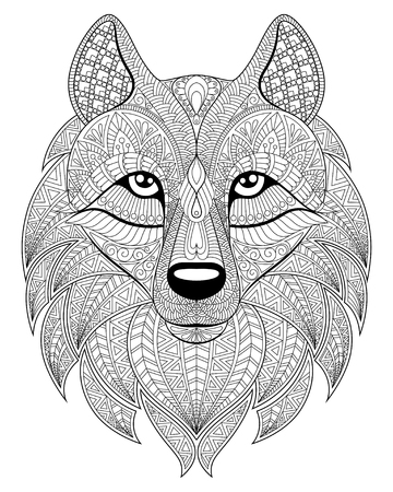 paper art: Wolf head Illustration