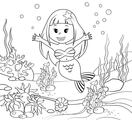 sea anemone: Mermaid. Underwater world. Black and white illustration for coloring book
