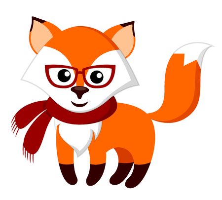 sly: Cute cartoon fox with glasses and scarf
