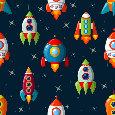 Seamless pattern with spaceship Çizim
