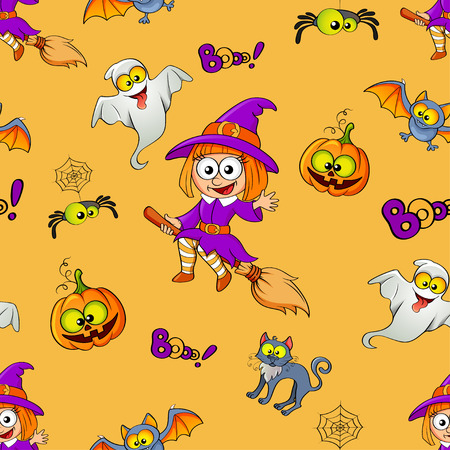 wicked set: Halloween seamless pattern with witch, pumpkin, cat, bat, ghost and spider