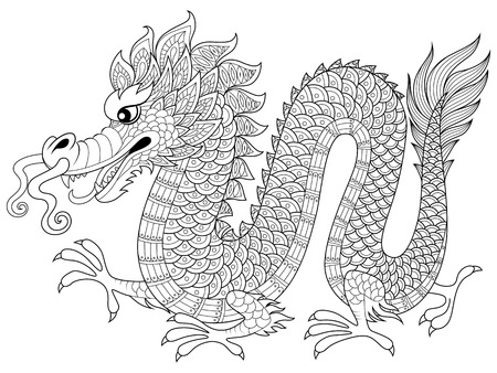 fantasy book: Chinese dragon in zentangle style. Adult antistress coloring page. Black and white hand drawn doodle for coloring book