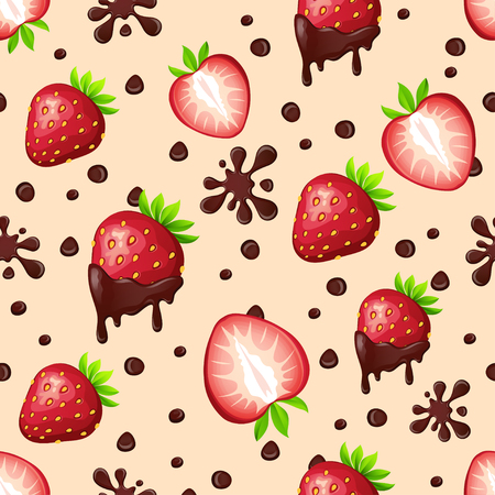 Seamless pattern with strawberries and chocolate