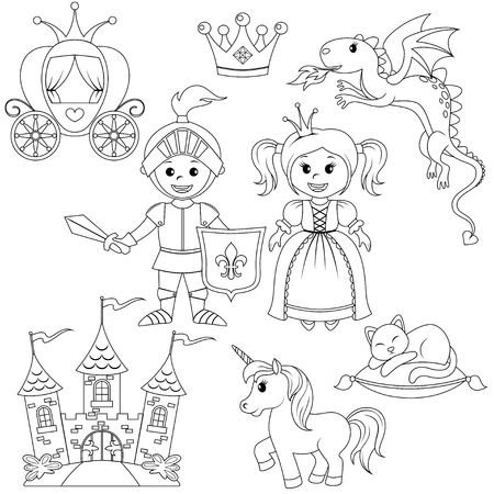 Fairytale princess, knight, castle, carriage, unicorn, crown, dragon, cat and butterfly. Black and white vector illustration for coloring book