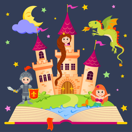 royal person: Fairytale book with castle, princess, knight, mermaid, dragon