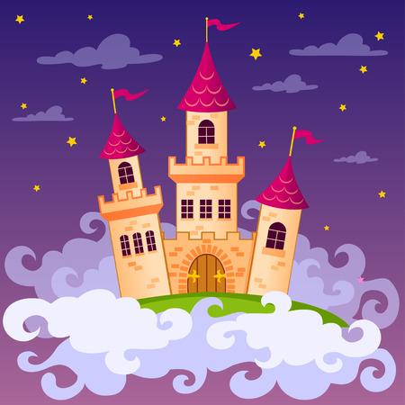 nubes caricatura: castillo de cuento de hadas de la fantasía en las nubes