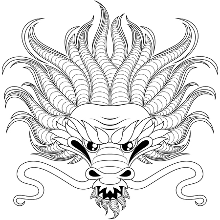 Head of chinese dragon in zentangle style for tatoo. Adult antistress coloring page. Black and white hand drawn doodle for coloring book Vector Illustration