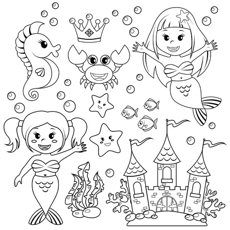Mermaid, underwater castle and sea animals. Fish, starfish, seahorse, crab, crovn. Black and white vector illustration for coloring book Vettoriali