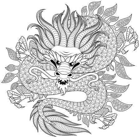 Chinese dragon in zentangle style for tatoo. Adult antistress coloring page. Black and white hand drawn doodle for coloring book Vettoriali