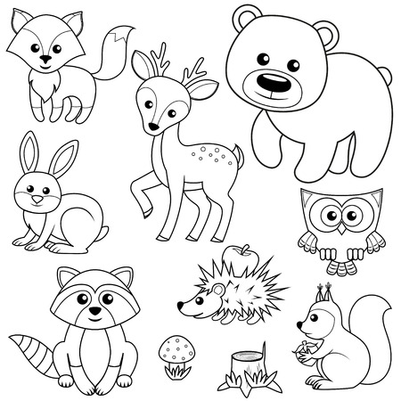 book pages: Forest animals. Fox, bear, raccon, hare, deer, owl, hedgehog, squirrel, agaric and tree stump. Black and white vector illustration for coloring book Illustration