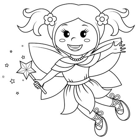 Cute little fairy. Black and white vector illustration for coloring book