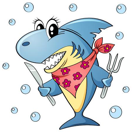 tiburón lindo de dibujos animados con un tenedor y un cuchillo