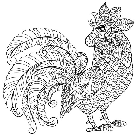 chinese adult: Rooster in zentangle style. Symbol of Chinese New Year 2017. Adult antistress coloring page. Black and white hand drawn doodle for coloring book