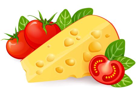 Cheese, tomato and basil isolated on white background Illustration