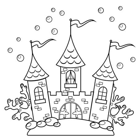 Onderwater kasteel. Zwart-wit vector illustratie voor het kleurboek