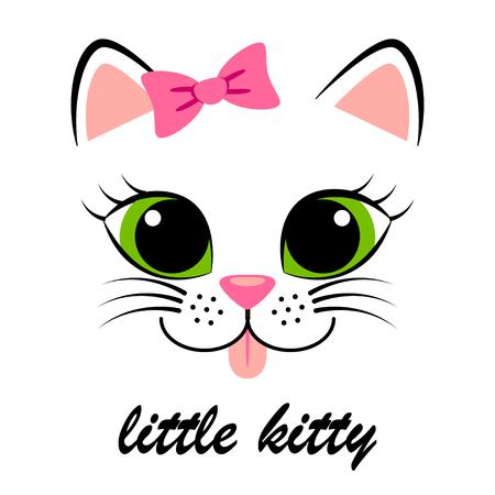 Cute white kitten with pink bow. Girlish print with kitty for t-shirt Vektoros illusztráció
