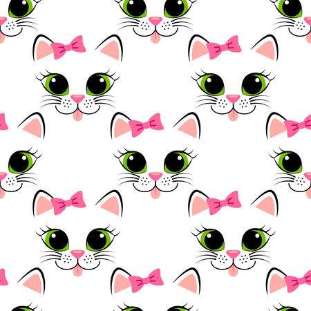 kitty cat: Seamless pattern with cat face. Cute white kitten with pink bow. Girlish background with kitty Illustration