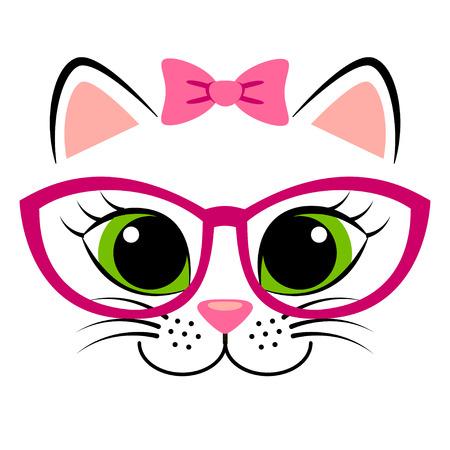 Nettes weißes Kätzchen mit rosa Schleife und Brille. Girlish Druck mit Miezekatze für T-Shirt Standard-Bild - 70953019