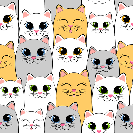 gray pattern: Seamless pattern with cats. Background with gray, white and ginger kittens