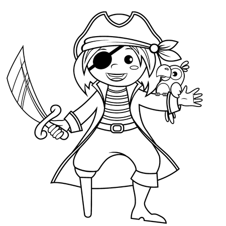 Pirate with parrot. Black and white vector illustration for coloring book