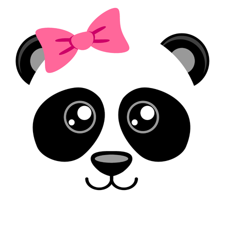kid portrait: Cute panda with pink bow. Girlish print with chinese bear for t-shirt