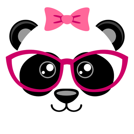kid portrait: Cute panda with pink bow and glasses. Girlish print with chinese bear for t-shirt Illustration