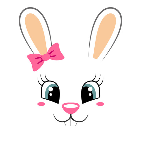 Cute bunny with pink bow. Girlish print with rabbit face for t-shirt Vettoriali