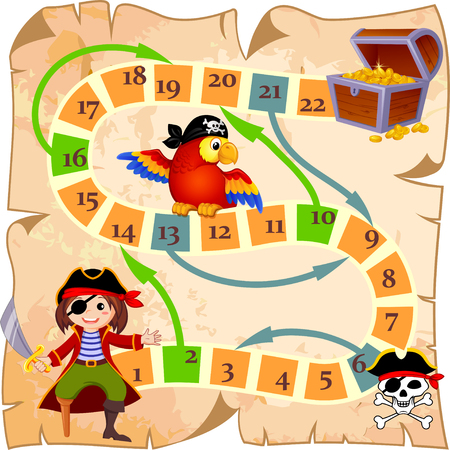 Board game with pirate, parrot, jolly roger and treasure chest Illustration