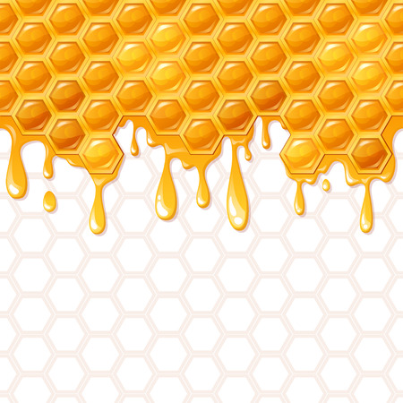 beeswax: Seamless honeycomb pattern with flowing honey Illustration