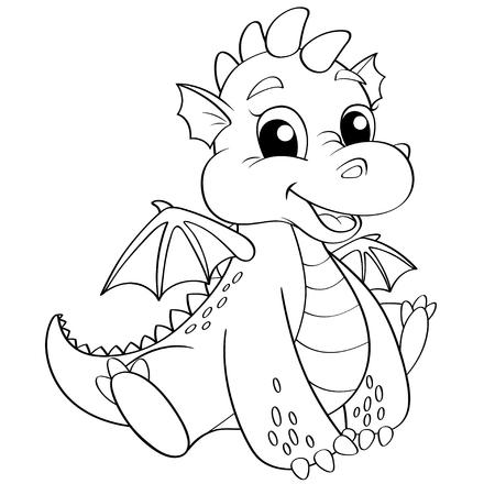 Dragon mignon. Illustration en noir et blanc pour le livre à colorier Banque d'images - 84244976