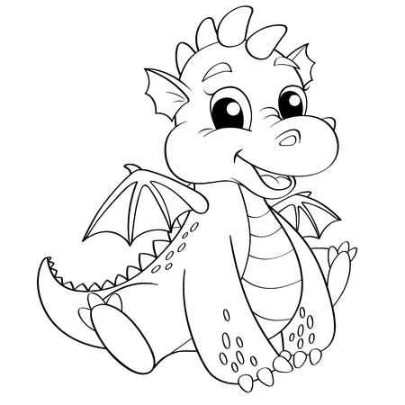 Cute dragon. Black and white illustration for coloring book