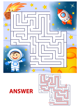 Help cosmonaut find path to rocket. Labyrinth. Maze game for kids
