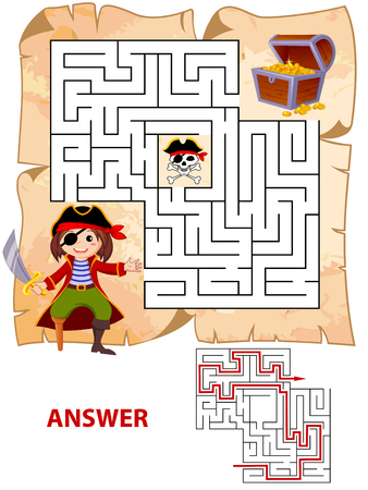 Help pirate find path to treasure chest. Labyrinth. Maze game for kids 版權商用圖片 - 75206531