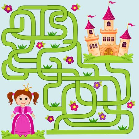 Ayudar a la pequeña ruta linda princesa hallazgo al castillo. Laberinto. Juego del laberinto para los niños Ilustración de vector