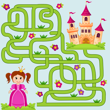 Help little cute princess find path to castle. Labyrinth. Maze game for kids
