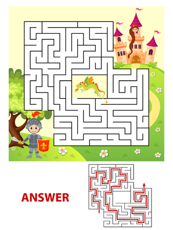 Help knight find path to princess. Labyrinth. Maze game for kids