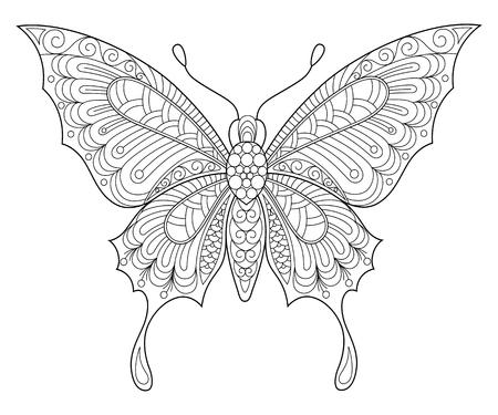 Netter Schmetterling Vektor Illustration Von Niedlichen Verzierten