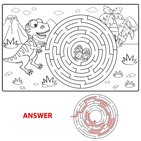 Help dinosaur find path to nest. Labyrinth. Maze game for kids. Coloring page