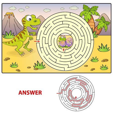 Hulp dinosaurus vondst pad naar nest. Labyrint. Doolhof spel voor kinderen Vector Illustratie