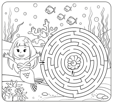 Help mermaid find path to pearl. Labyrinth. Maze game for kids. Coloring page