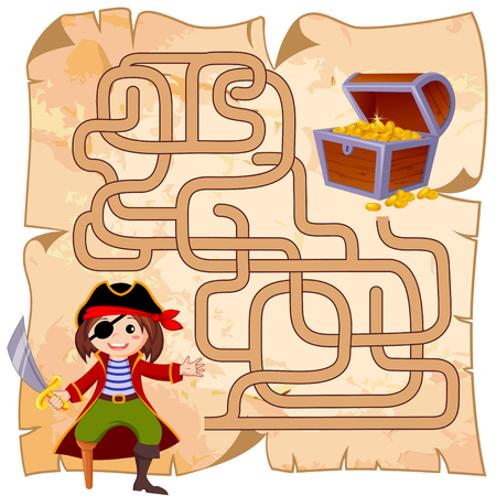Help pirate find path to treasure chest. Labyrinth. Maze game for kids 版權商用圖片 - 76222517