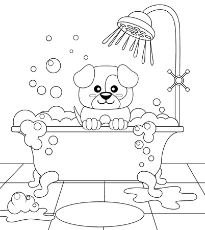 dog: Cute puppy taking bath. Dog grooming. Black and white vector illustration for coloring book