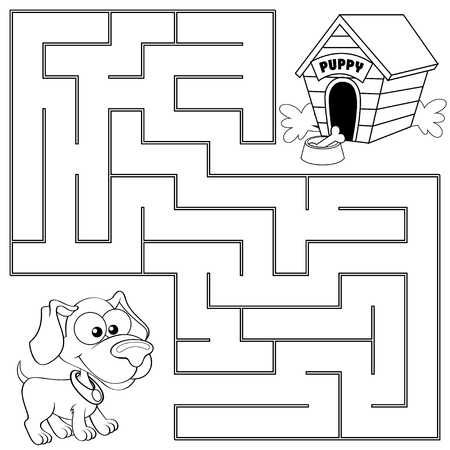Perro Y Casa. Ilustración En Blanco Y Negro Para Colorear ...